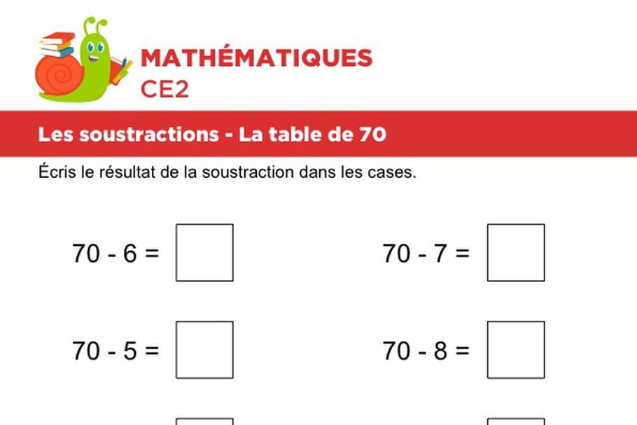 Les soustractions, la table de 70