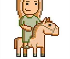 Pixel art cheval et sa cavaliere