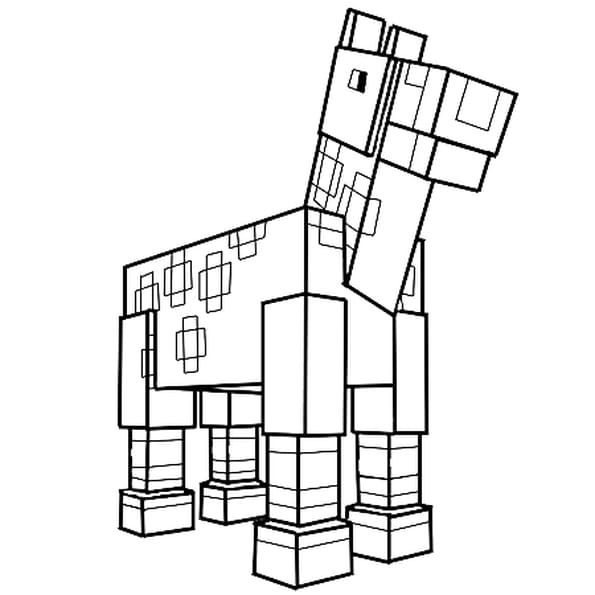 Coloriage Le cheval de Minecraft