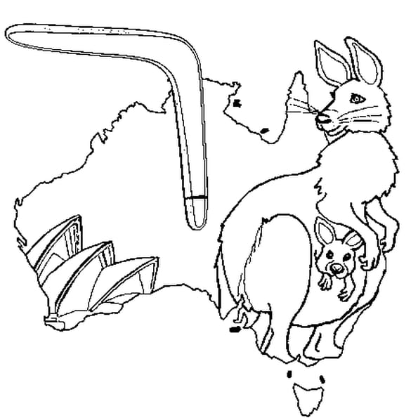 Dessin Australie a colorier