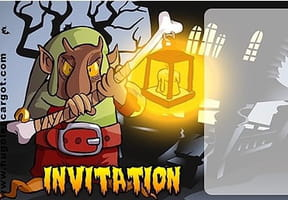 Carte invitation Halloween troll et sa lanterne
