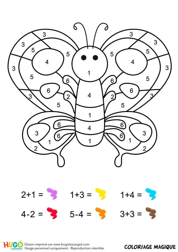 Coloriage magique CP: un papillon multicolore