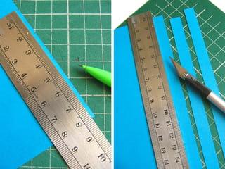 La technique, découper des bandelettes de papier