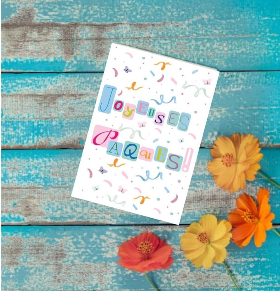 Carte de Pâques confettis et papillons