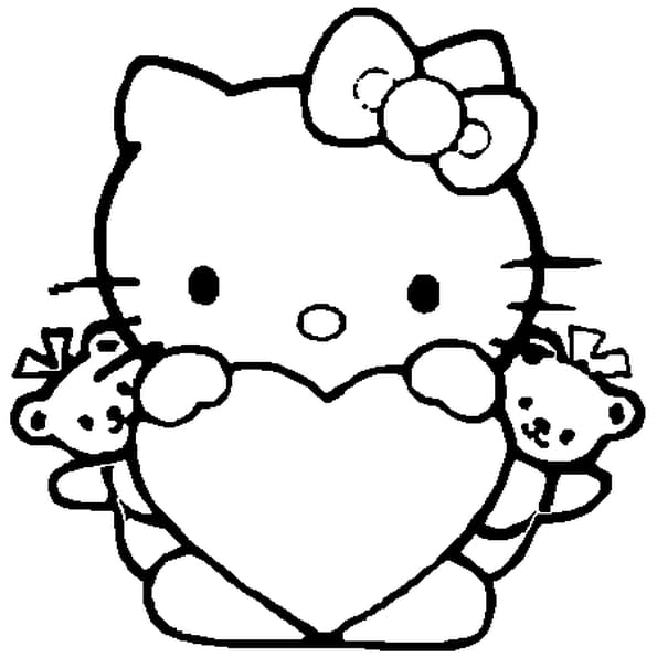 Coloriage hello kitty coeur en ligne gratuit imprimer - Dessin de hello kitty facile ...