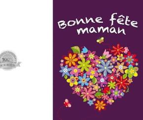 Carte fête des mères cœur et fleurs