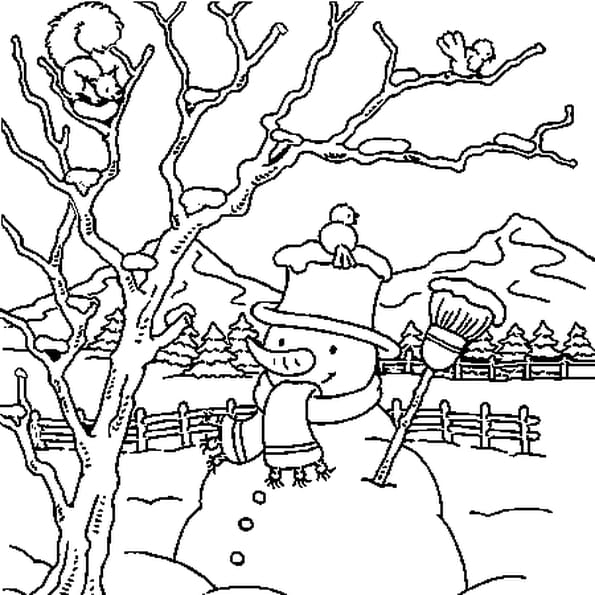 Coloriage paysage neige - Dessin a colorier paysage ...