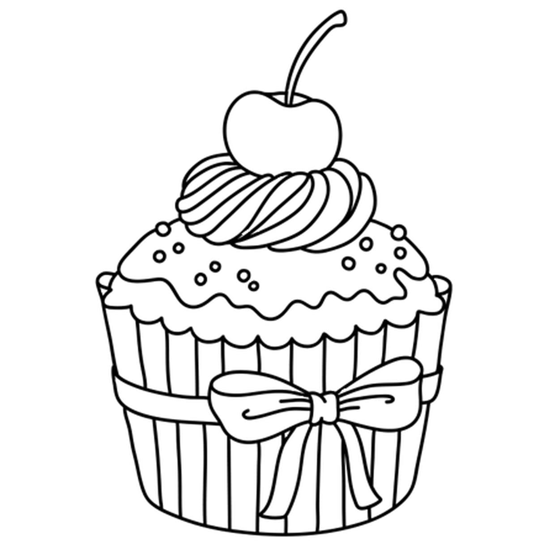 Coloriage Cupcake Cerise En Ligne Gratuit à Imprimer