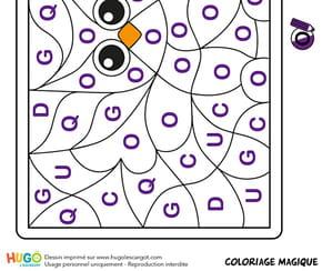 Coloriage magique CP, une jolie chouette