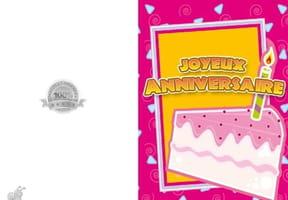 Carte anniversaire part de gâteau