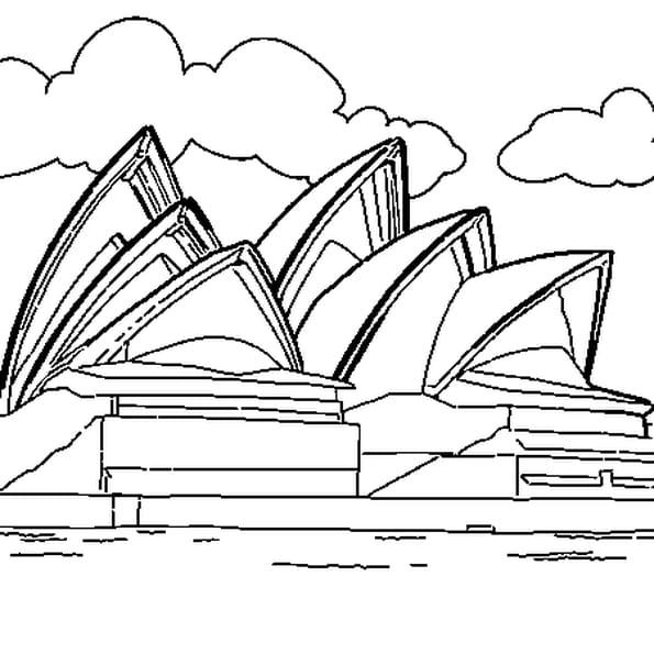 Coloriage Opéra de Sydney en Ligne Gratuit à imprimer