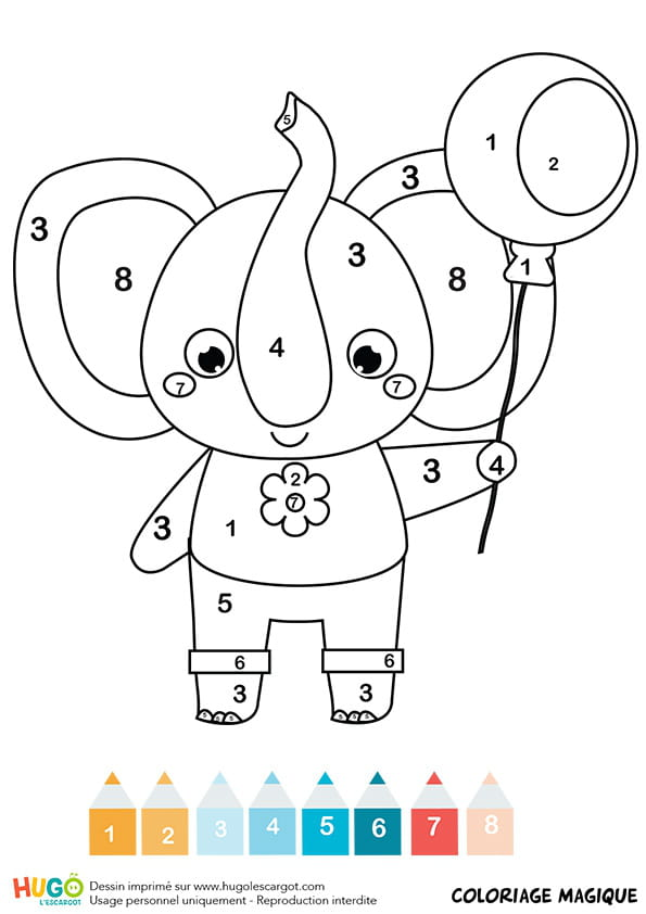 Coloriage Intelligent Cp.Coloriage Magique Cp Un Elephant