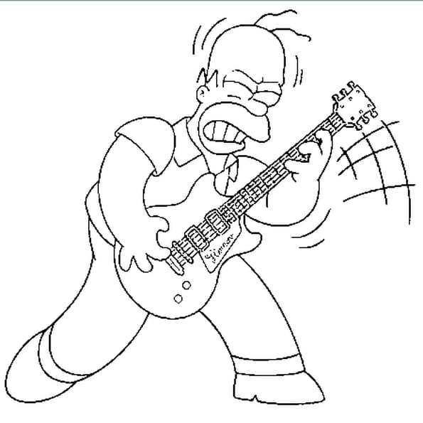 Coloriage guitare electrique en ligne gratuit imprimer - Guitare simpson ...