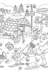 Coloriage Cache-Cache Playmobil pôle nord