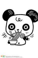 Coloriage Panda et bol de ramen kawaii