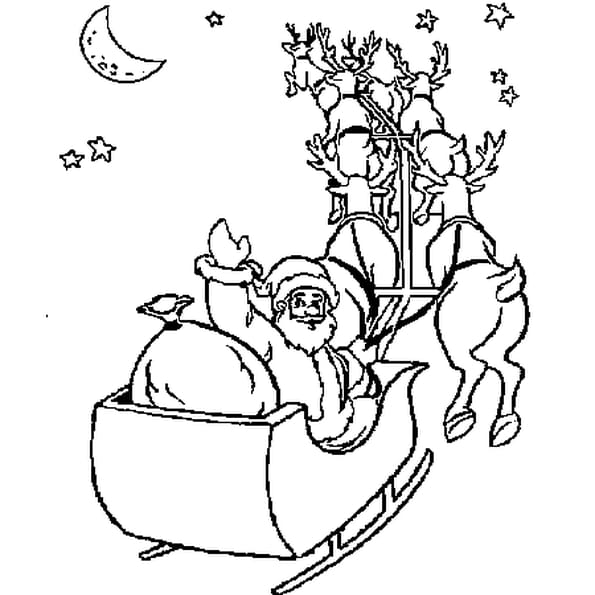 Dessin Traîneau Père Noël a colorier