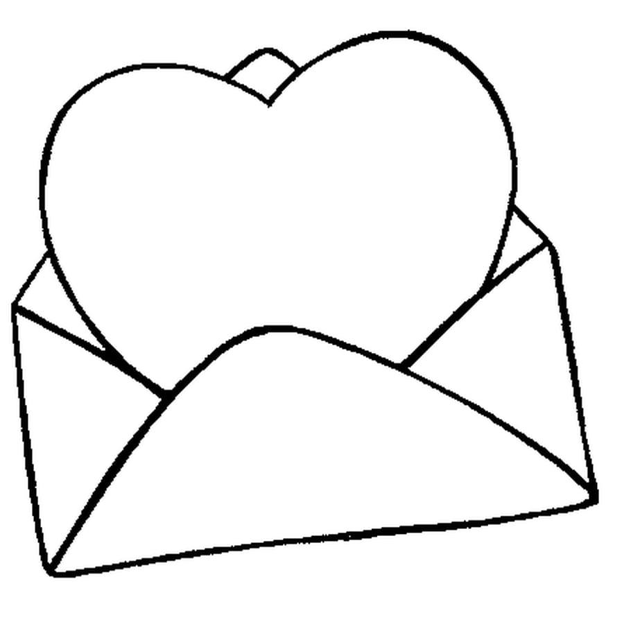Dessin carte st valentin a colorier