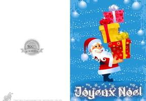 Carte Père Noël et pile de cadeaux