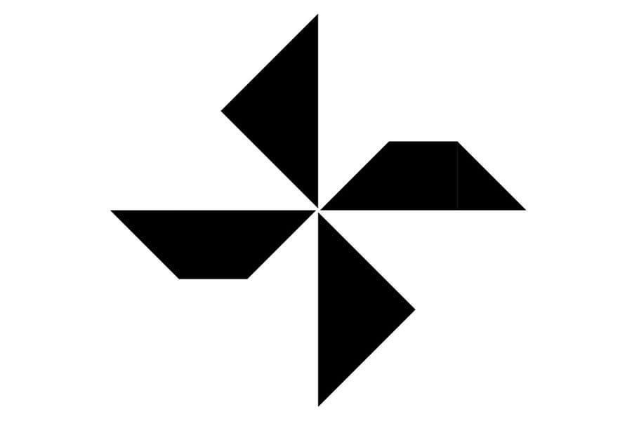 Le tangram niveau difficile, un moulin