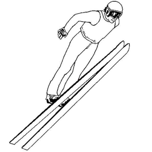 Dessin Saut à Ski a colorier