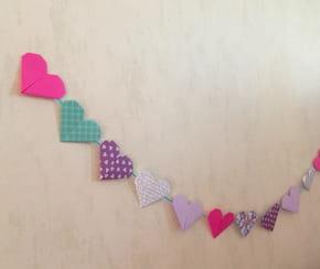 Origami guirlande cœur