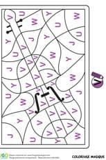 Coloriage magique CP, un violon