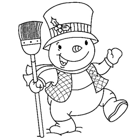 Dessin bonhomme de neige a colorier