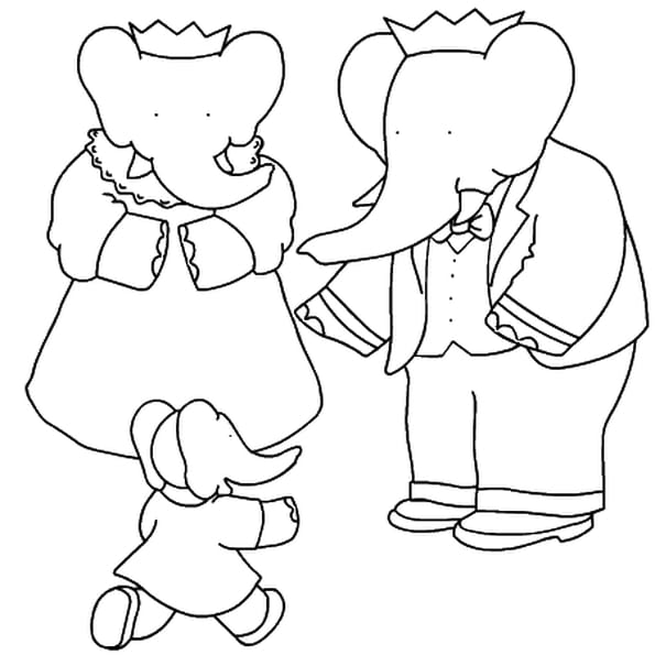 Dessin babar a colorier
