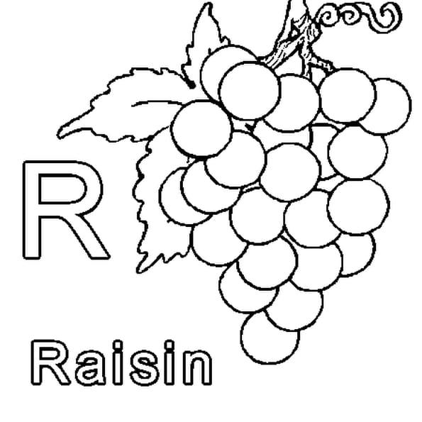 Coloriage R comme Raisin en Ligne Gratuit à imprimer
