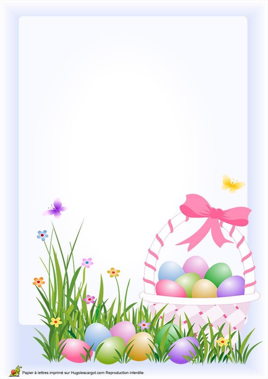 Carte œufs de Pâques dans un panier