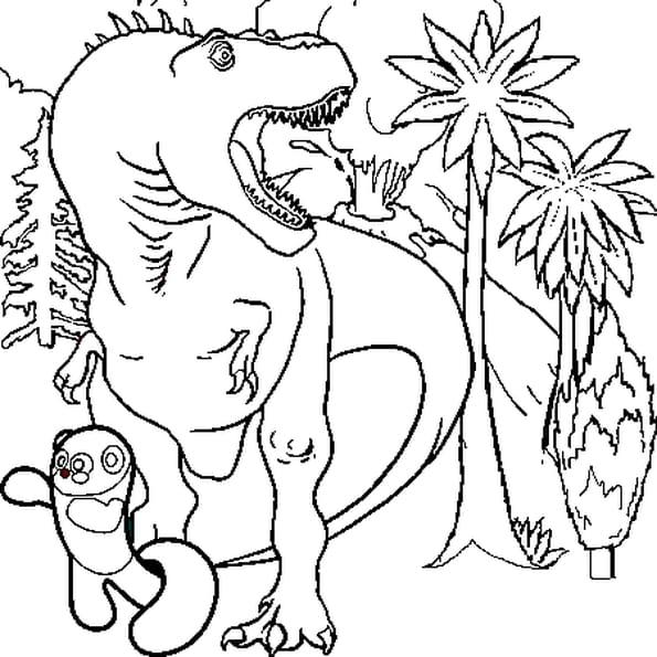 Coloriage T-Rex fuyant l'éruption volcanique en Ligne Gratuit à imprimer