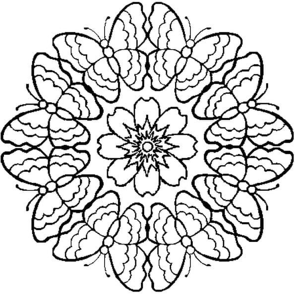 Dessin Mandala Papillon a colorier