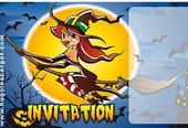 Carte invitation Halloween sorcière volante