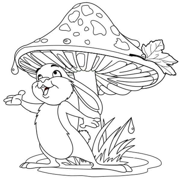 Coloriage lapin et champignon en ligne gratuit imprimer - Dessin oreille de lapin ...