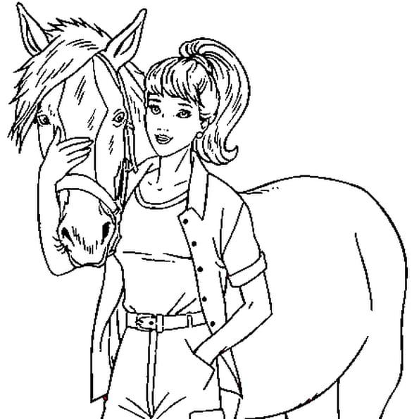 Coloriage de cheval en ligne gratuit imprimer - Dessin de jeune fille ...