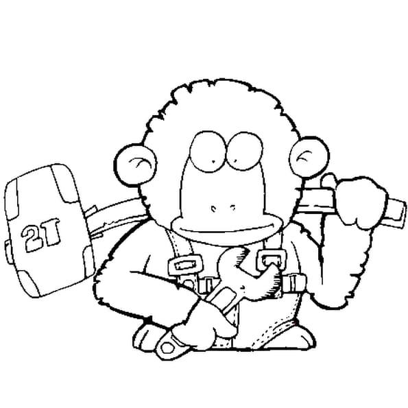 Coloriage gorille bricoleur en Ligne Gratuit à imprimer
