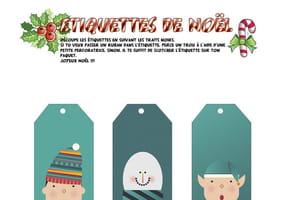 Étiquettes de Noël Lutins et Village