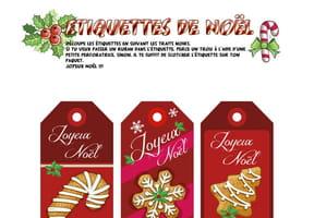 Étiquettes de Noël Sucreries et Pain d'épice