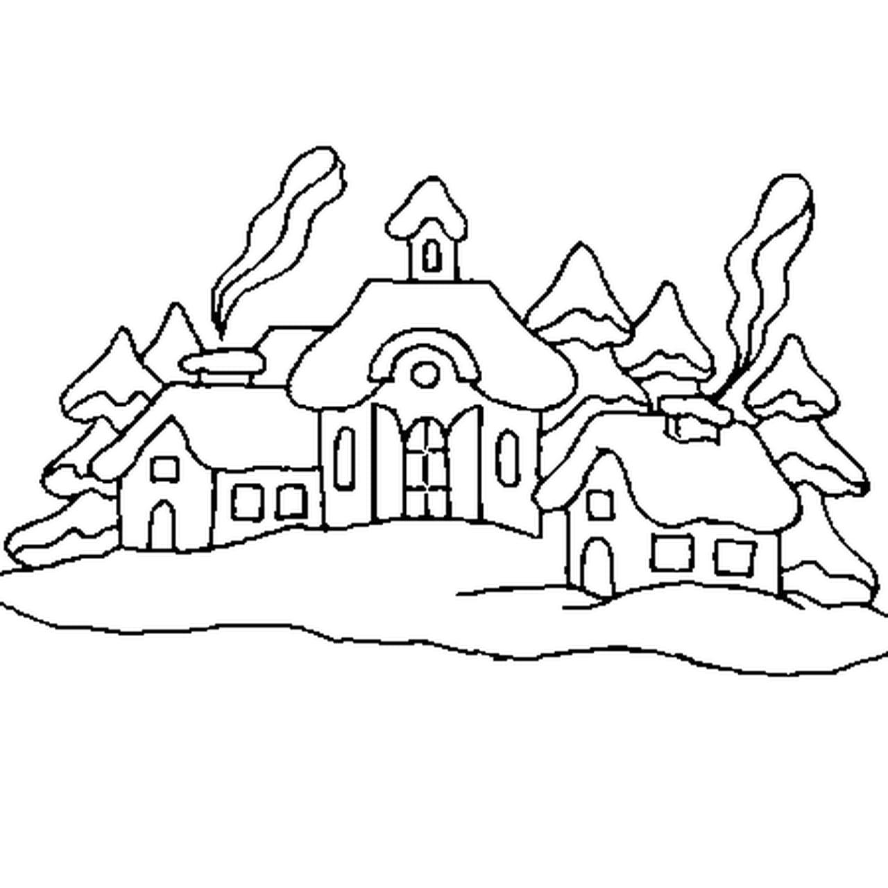 Coloriage village de noël en ligne gratuit à imprimer
