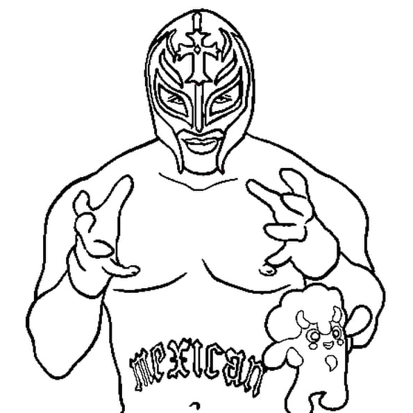 Coloriage Catch rey Mysterio en Ligne Gratuit à imprimer