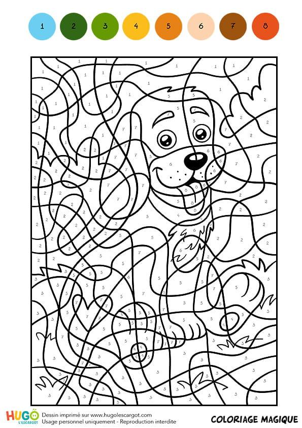 Coloriage magique cm1 un petit chien assis - Coloriage magique grammaire cm1 ...