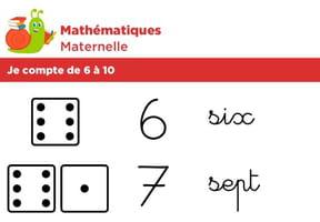 Mathématiques fiche 2, je compte de 6à 10