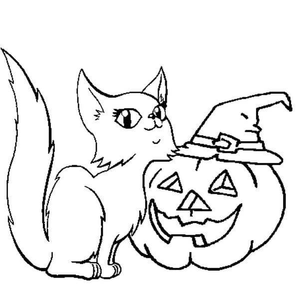 Coloriage Citrouille d'Halloween et chatte en Ligne Gratuit à imprimer