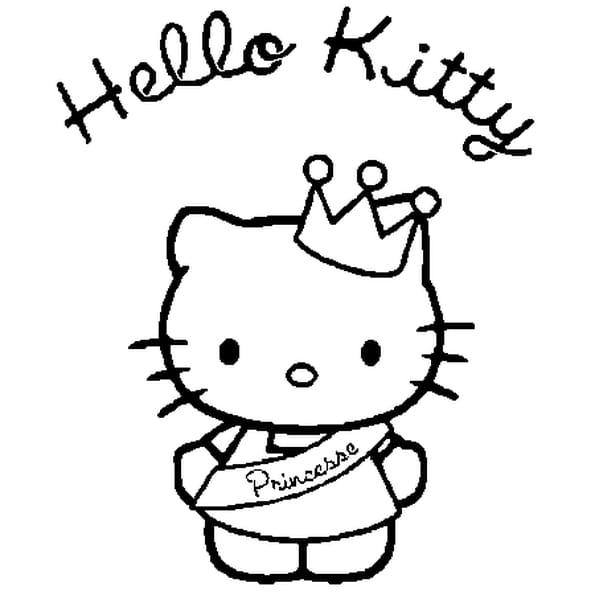 Dessin hello kitty princesse a colorier
