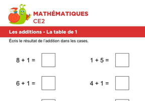 Les additions, la table de 1