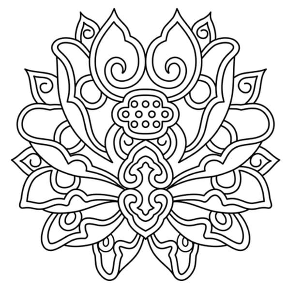 Dessin Fleur de lotus mandala a colorier