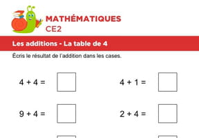Les additions, la table de 4