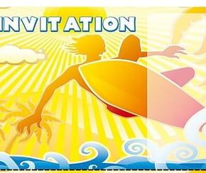 Carte invitation anniversaire surfeur