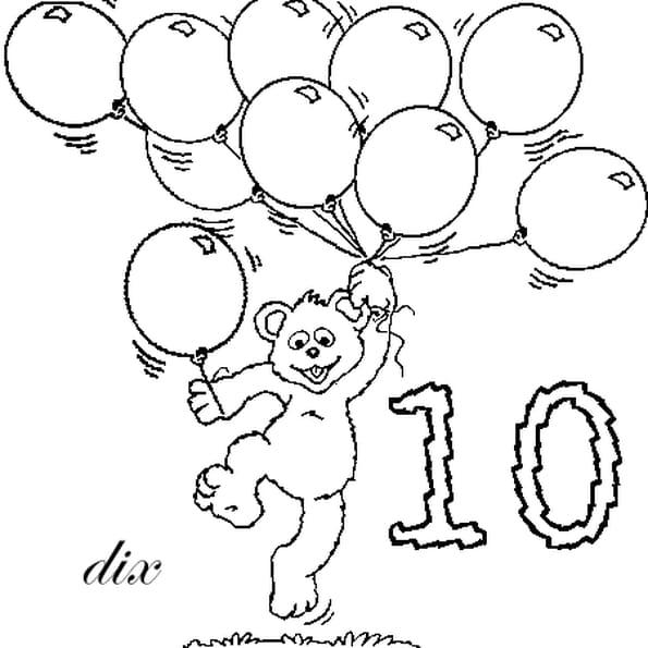 Dessin nombre 10 a colorier