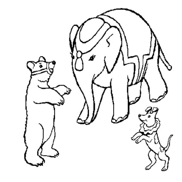 Dessin Animaux de Cirque a colorier